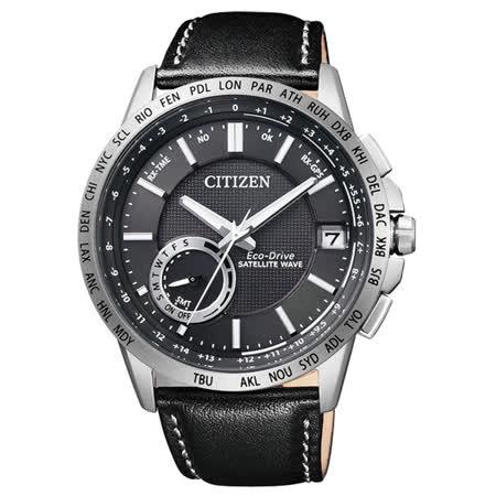 CITIZEN Eco-Drive 瞻望未來衛星對時男錶-黑x皮帶