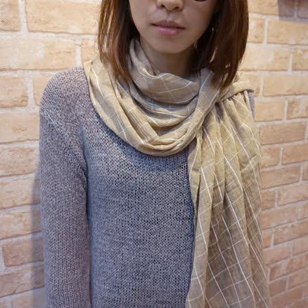 【Lus.G】南法鄉村少女格紋麻紗圍巾-共3色