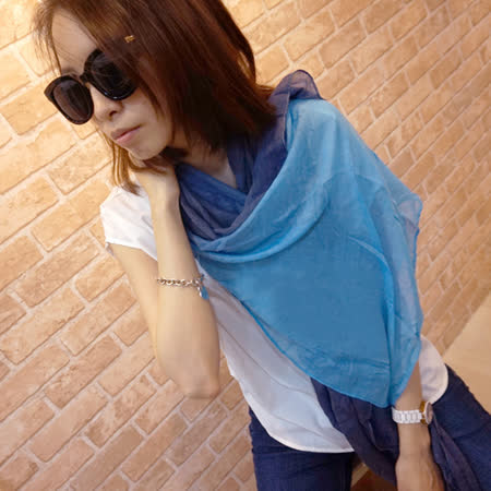 【Lus.G】渲染漸層色麻紗圍巾-藍/藍黑/藍灰/橙