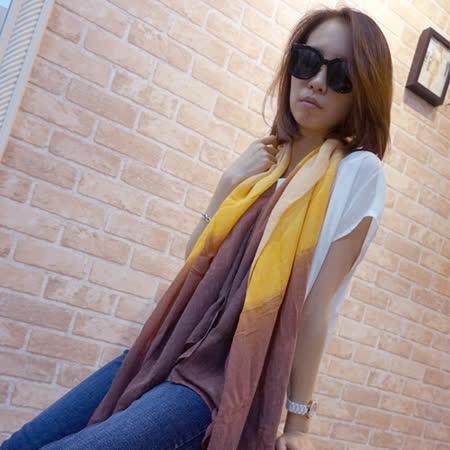 【Lus.G】渲染漸層色麻紗圍巾-紫/粉綠/粉紅/黃棕