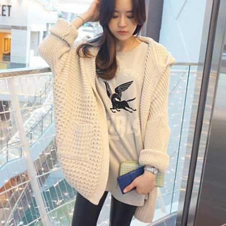 【Kate Classic 】暖暖純色口袋連帽針織外套UB345