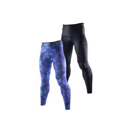 (男) MIZUNO BG9000 緊身長褲-可雙面穿- 慢跑 路跑 抗UV 藍紫