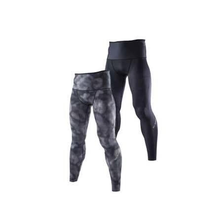 (男) MIZUNO BG9000 緊身長褲-可雙面穿- 慢跑 路跑 抗UV 黑灰