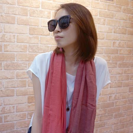 【Lus.G】渲染漸層色麻紗圍巾-粉紫/棕/綠/紅