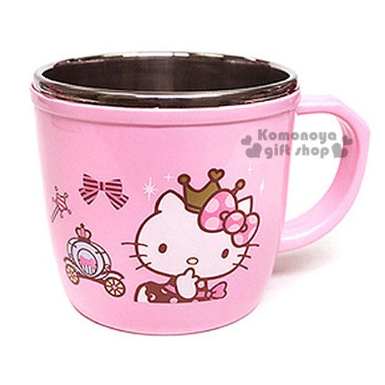 〔小禮堂韓國館〕Hello Kitty 單耳不鏽鋼杯~粉.大臉.皇冠.馬車.250ml~L