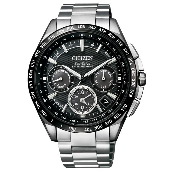 CITIZEN Eco~Drive 宇宙航道衛星對時鈦金屬腕錶~黑框銀