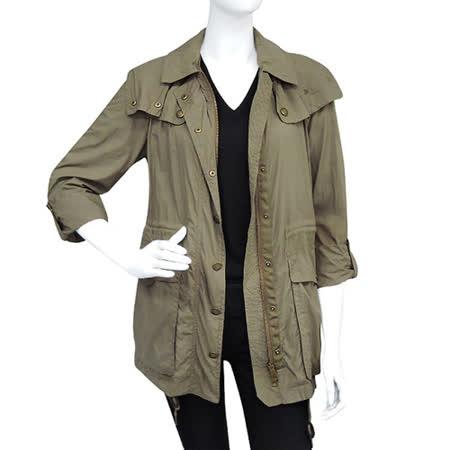 BURBERRY 橄欖綠連帽風衣外套(US 6號)