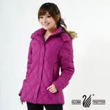 【遊遍天下】JIS90%羽絨極暖防風防潑水中長版菱格羽絨外套A063玫紫