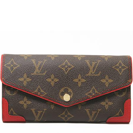 Louis Vuitton LV M61184 Sarah 經典花紋發財包扣式長夾.紅_預購