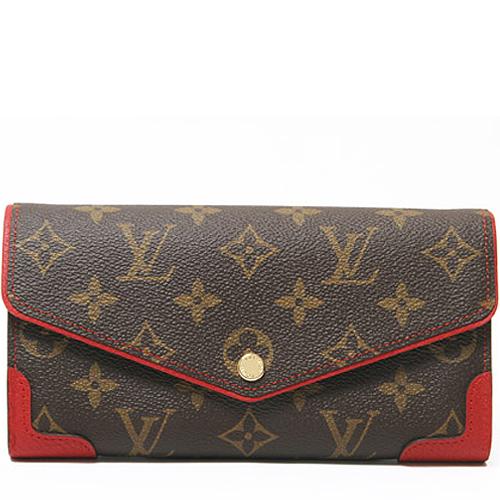 Louis Vuitton LV M61184 Sarah 花紋發財包扣式長夾.紅_