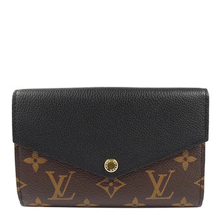 Louis Vuitton LV M60990 Pallas 經典花紋皮革拼接中夾.黑_預購