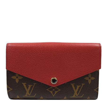 Louis Vuitton LV M60140 Pallas 經典花紋皮革拼接中夾.紅_預購