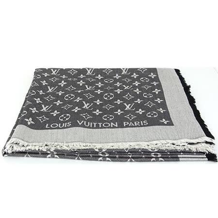 Louis Vuitton LV M71378 Monogram Denim 經典花紋羊毛絲綢披肩圍巾.黑_預購