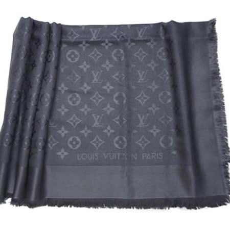 Louis Vuitton LV M74752 Monogram 經典花紋羊毛絲綢披肩圍巾.煤炭色_預購
