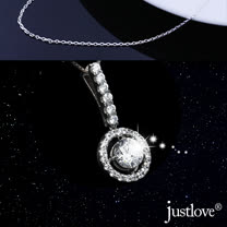 【justlove璀璨配飾】925純銀鑲嵌2.5克拉八心八箭水晶鑽墜子項鍊鎖骨鍊(銀)NL-0029