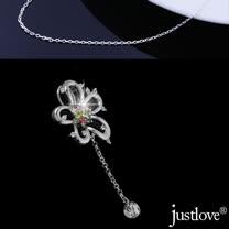 【justlove璀璨配飾】純銀鍊條防過敏防褪色晶鑽五瓣花項鍊(銀 NL-0030)