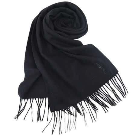 YSL 長版刺繡LOGO羊毛披肩/圍巾(黑)