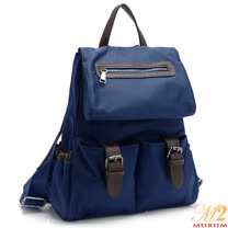 【MOROM】真皮時尚摩登多口袋後背包(藍色)1101