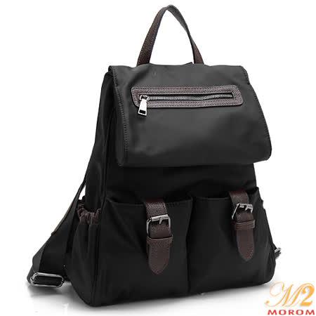 【MOROM】真皮時尚摩登多口袋後背包(黑色)1101