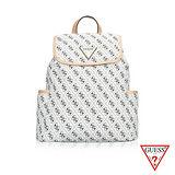 GUESS 時尚精品G字LOGO交錯元素設計搭配頭層皮後背包系列款-優雅白U6296402-35