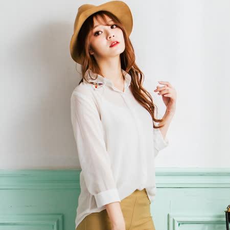 Wonderland 名媛風浪漫雪紡紗襯衫上衣(白)