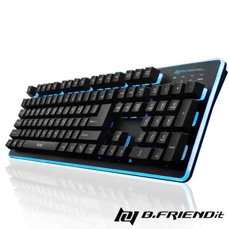 B.Friend GK3 遊戲發光有線鍵盤(七色背光可選)-黑