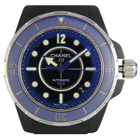 CHANEL  J12 MARINE陶瓷機械橡膠錶帶男錶(黑/38mm)
