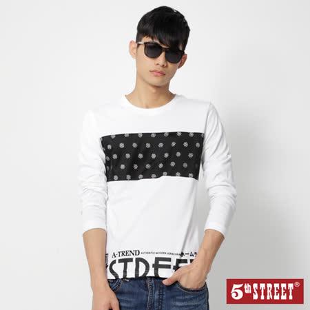 5th STREET 滿版棒球長袖T恤-男-白色