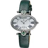 BijouMontre 寶爵 Gala 絕代佳人限量鑽錶-銀x綠錶帶/38mm A13070