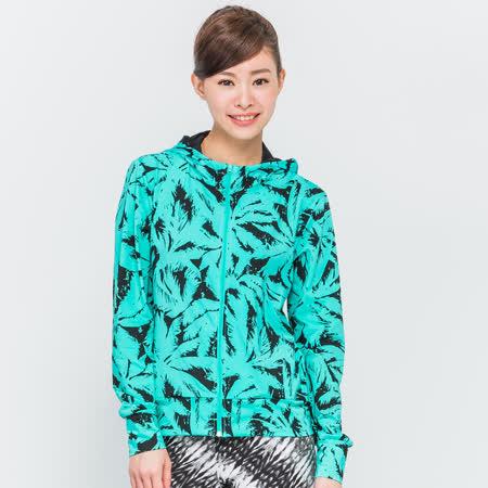 TOP GIRL 羽毛印花韻律連帽外套-綠