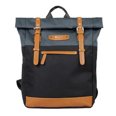 【estilo】時尚玩色系列 撞色設計 後背包(黑)