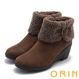 ORIN 時髦流行暖呼呼 麂皮反摺皮帶釦環坡跟短靴-棕色