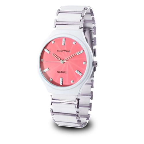 【Daniel Wang】時尚設計款甜心馬卡龍造型錶-白粉 DW-3128