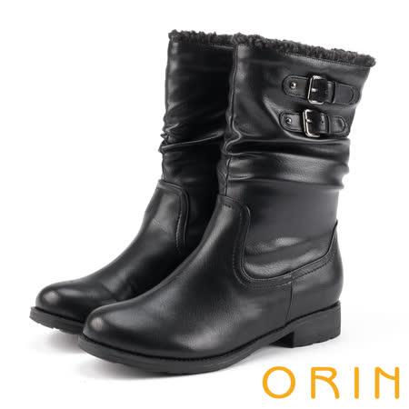 ORIN 流行元素時髦 嚴選牛皮捲毛皺摺低跟靴-黑色