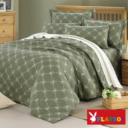 【PLAYBOY】懷舊風格 雙人六件式兩用被床罩組
