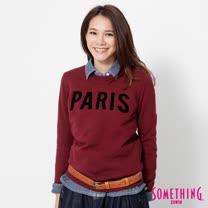 SOMETHING 立體PARIS長袖厚T恤-女-暗紅色