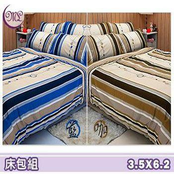 名流寢飾 100%精梳棉單人加大床包組 -尋夢園