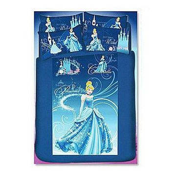 名流寢飾 100%純棉迪士尼灰姑娘兩用鋪棉被套床包組 -標準雙人