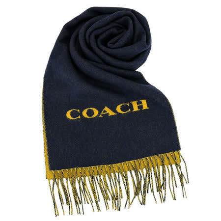 COACH LOGO 素面雙色流蘇圍巾(藍黃)