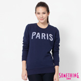 SOMETHING 立體PARIS長袖厚T恤-女-丈青色