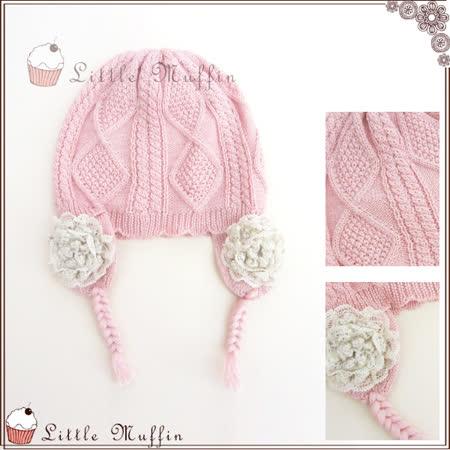 手工編織麻花玫瑰羊毛混紡毛線帽