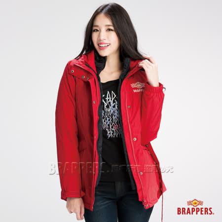 BRAPPERS 女款  二合一機能長版羽絨外套-紅