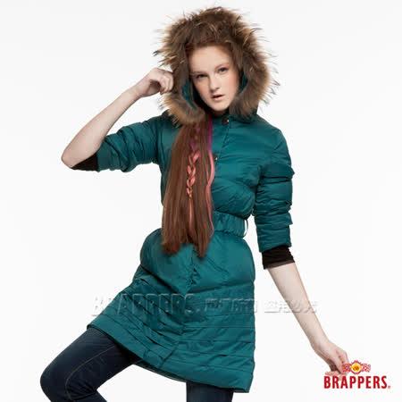 BRAPPERS 女款 女用長版腰帶正品羽絨連帽外套-藍