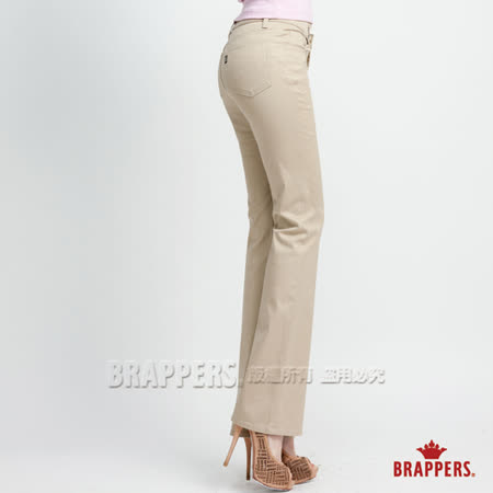 BRAPPERS 女款 基本款 女用中腰彈性小喇叭褲-卡其