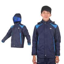 (男) KAPPA 雙層防風外套- 連帽外套 休閒外套 路跑 慢跑 丈青寶藍