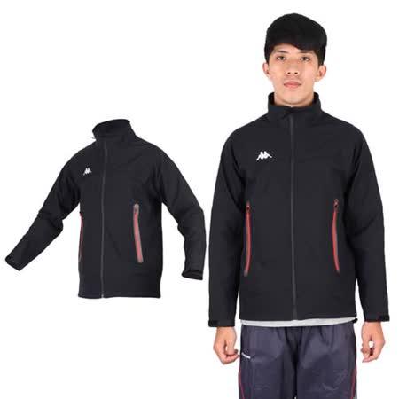 (男) KAPPA 立領外套- 運動外套 路跑 慢跑 黑橘紅