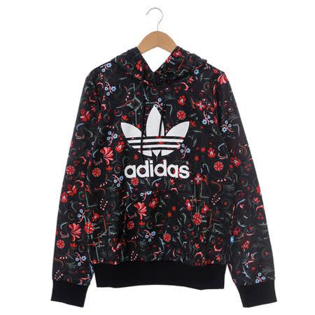 adidas (女)連帽T(長)-黑-AB4677