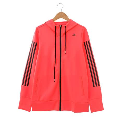 adidas (女)棉質--運動外套(連帽)-橘紅-AB5561