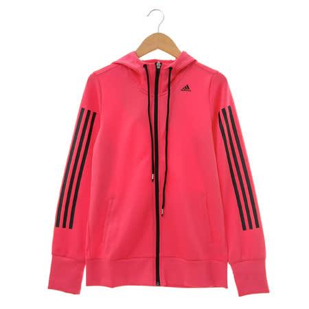 adidas (女)棉質--運動外套(連帽)-桃-AC3304