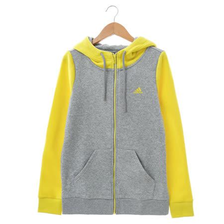 adidas (女)棉質--運動外套(連帽)-黃-AH5692